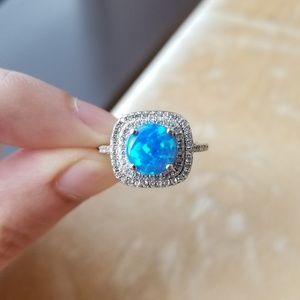 Double Halo Blue Australian Fire Opal Ring